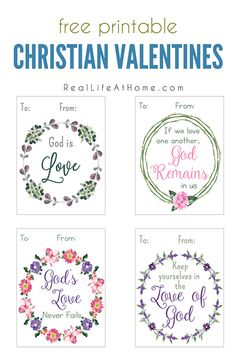 Free printable Christian valentine cards for kids and families featuring decorative wreaths and Scriptures with four printable valentines per sheet.