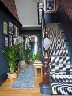 Should I Add a Carpet or Rug Runner to My Mountain House Staircase? – [pin_pinter_full_name] Should I Add a Carpet or Rug Runner to My Mountain House Staircase? Black and White stair runner w… House Staircase, Victorian Hallway, House, Interior Design, Hallway Inspiration, Home Decor, Victorian Homes, Black And White Stairs