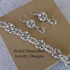 Rhinestone and Cream Pearl Bracelet and Earring by BridalDiamantes