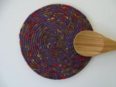 FABRIC COIL TRIVET in Purple  Autumn Breeze Trivet  by Jambearies