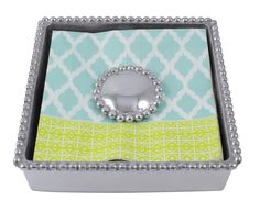 Lily Pearled Beaded Cocktail Napkin Box Set