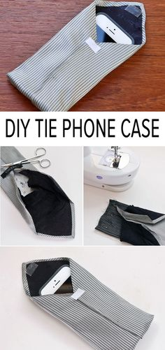 Upcycle a tie into a phone case crafts accesorios de costura Sewing Hacks, Sewing Crafts, Sewing Projects, Tie Crafts, Arts And Crafts, Old Ties, Recycling, Tie Quilt, Diy Clothes