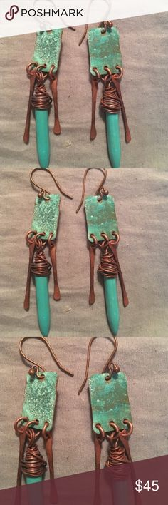 Spotted while shopping on Poshmark: Handmade Turquoise Copper Earrings! #poshmark #fashion #shopping #style #Jewelry