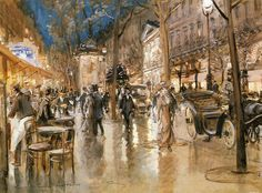 Evening on a Parisian Boulevard by Georges Stein, Gouache