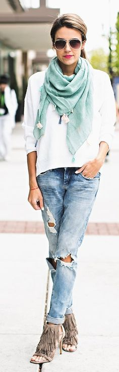 Ripped Jeans with Teal Scarf and Fringe Heels