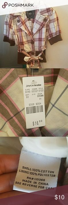 Joyce Leslie plaid jacket Cute pink, cream and brown jacket I bought from Joyce leslie. Shell 100% cotton, lining 100% polyester. This is new with tags. I originally got it for an interview but never wore it. Original price was 16.99, feel free to make me an offer! Comes from smoke free, pet-free home. Joyce Leslie Tops Button Down Shirts