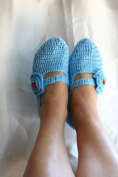 FREE SHiPPiNG Blue Healthy Booties Home slippers by NesrinArt, $21.00