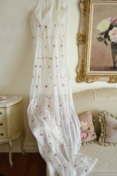 Stunning Vintage Pair of Tulle Embroidered Curtain panels.