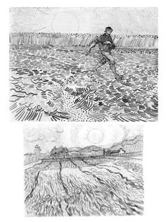 See the world through the eyes of Vincent Van Gogh: Using line and texture to bring your landscapes to life Vincent Van Gogh Artwork, Van Gogh Drawings, Van Gogh Landscapes, Van Gogh Museum, Landscape Drawings, Black And White Drawing, Abstract Lines, Art Tutorials, Art History