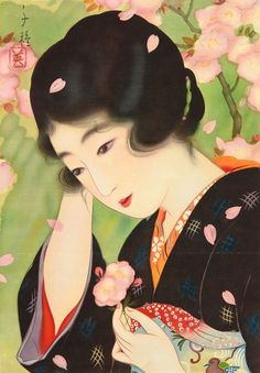 """""""Beauty and Cherry Blossoms"""" by Chigusa Kotani (1890-1945)"""
