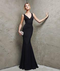 Sexy V Neck Floor Length Black Chiffon Trumpet Mermaid Evening Dress Cpr0069