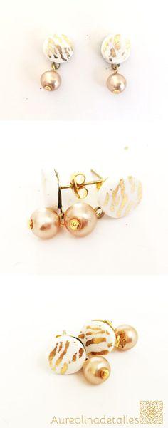 Pendientes de botón Gold Desert, joyas para regalar en ese día tan especial