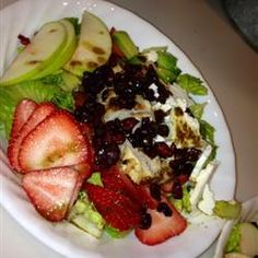 Summer Salad with chicken, fruit, cranberries, avocado etc