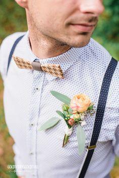 Hochzeitsanstecker, Bräutigam, Blumen, Holzfliege