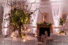 Dramatic winter wedding flowers at North Cadbury Court. Bristol Florists, The Wilde Bunch adding loads of candles to create a warm glow on a freezing December night. See loads more designs on the North Cadbury Court page on our website. Country House Wedding Venues, London Bride, Winter Wedding Flowers, Beautiful Table Settings, Florists, Bristol, Wedding Stuff, December, Glow
