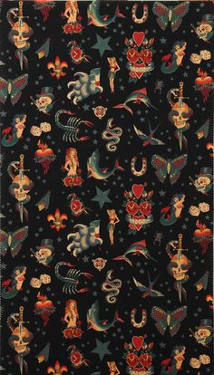 Alexander Henry Fabric Tattoo Black By the Yard, pattern, illustration, art, Nature Wallpaper, Wallpaper Backgrounds, Iphone Wallpaper, Wallpaper Art, Textures Patterns, Fabric Patterns, Print Patterns, Rock And Roll, Wallpaper Caveira