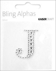 """Rhinestone Silver Crystal Letter """"J"""" - 1.4"""" x 1.1"""""""