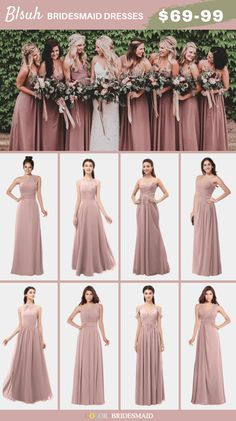 Blush and Green Spring wedding ideas: blush bridesmaid dresses, blush roses bouquets with greenery , navy suits with blush ties and more details on blush and green wedding. Dusty Rose Bridesmaid Dresses, Blush Pink Bridesmaid Dresses, Wedding Dresses, Dresses Dresses, Bride Maid Dresses, Inexpensive Bridesmaid Dresses, Mauve Wedding, Blush Weddings, The Dress