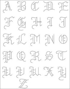 PACK Embroidery Patterns - OLDE ALPHABET Alphabet - Embroidery Patterns (could be used for other projects too!)Alphabet - Embroidery Patterns (could be used for other projects too! Hand Lettering Alphabet, Calligraphy Letters, Tattoo Fonts Alphabet, Alphabet Design, Basic Calligraphy, Letter D Tattoo, Cute Fonts Alphabet, Calligraphy Alphabet Tutorial, Alphabet Drawing