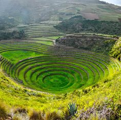 The Ancient Inca circular terraces at Moray, Peru