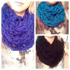 Warm and Cozy Chunky Infinity Scarves Arm knit by MIssMonsterDesigns, $20.00