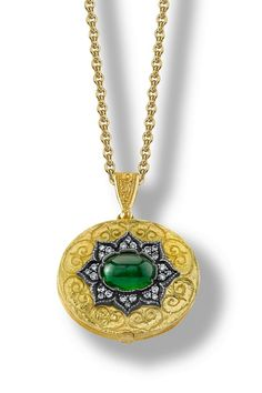 Arman Sarkisyan locket with tsavorite, diamonds and oxidised silver