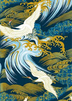 Pattern Leather Nunchuck Japanese Asian Sewing Quilting Fabric Kona Bay by Shiboridragon Japanese Textiles, Japanese Patterns, Japanese Fabric, Japanese Prints, Japanese Crane, Art Asiatique, Japanese Painting, Art Graphique, Japan Art
