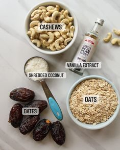 Healthy Homemade Snacks, Healthy Sweet Treats, Healthy Breakfasts, Healthy Sweets, Healthy Baking, Coconut Date Balls, Coconut Energy Balls, Date Protein Balls, Protein Bar Recipes