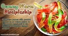 these games with gummy worms as an object lesson to talk about Jesus' call to his disciples to become fishers of men. and/or about sharing Jesus with othrs Bible Study For Kids, Bible Lessons For Kids, Kids Bible, Preschool Bible, Youth Group Lessons, Bible Activities, Church Activities, Church Games, Bible Games