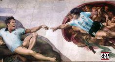 Hand of God - The Creation of Adam - Creazione di Adamo - Michelangelo - Sistine Chapel ceiling - fatcap - SPK - Cardiff Graffiti - Gary Lineker - Diego Maradona - Argentina - England - World Cup - 1986