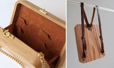 Wearable Wooden Bags That I Cross-Stitch With Nature Patterns