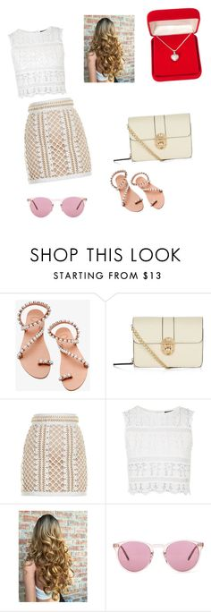 """Untitled #3"" by llffss ❤ liked on Polyvore featuring Elina Linardaki, Balmain, Topshop, Oliver Peoples and Alexa Starr"