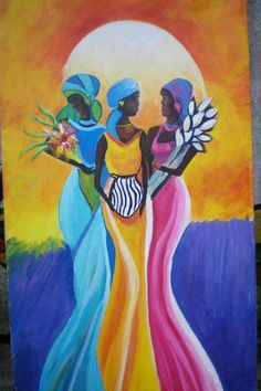 The Orishas Yemaya,Oshun and Oya. Santeria is an African Diaspora religion centered in Cuba. It recognizes a collection of deities known as orishas with whom human beings can interact. PD AND TEA African Mythology, African Goddess, Black Women Art, Black Art, African Culture, African Art, Orishas Cuba, Yoruba Religion, Triple Goddess