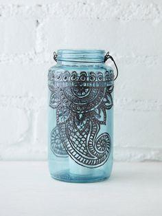 Dimensional paint inspiration | LitDecor 32 Oz Mason Jar Lantern | at Free People