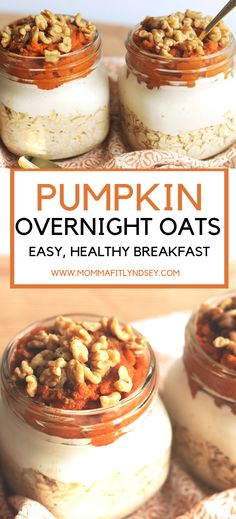 Pumpkin Overnight Oats Recipe - a healthy recipe using almond milk and can be made in a jar. Delicious to be made with steel cut oats and can substitute for coconut yogurt for vegan overnight oats. Filled with protein and great for weightloss. Overnight Oats With Yogurt, Pumpkin Overnight Oats, Peanut Butter Overnight Oats, Overnight Oatmeal, Overnight Steel Cut Oats, Laura Lee, Oats Recipes, Vegan Recipes, Meals In A Jar