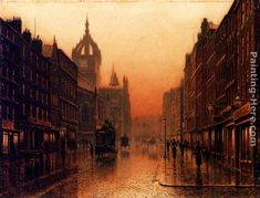 Louis H. Giles Cathedral, Edinburgh painting for sale - Louis H. Giles Cathedral, Edinburgh is handmade art reproduction; You can buy Louis H. Giles Cathedral, Edinburgh painting on canvas or frame. Leeds, Art Et Architecture, Foto Gif, Victorian London, Victorian Art, Paintings I Love, Art Paintings, Landscape Paintings, Glasgow