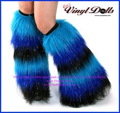 Rave Fluffies Furry Leg Warmers Sparkle Neon Blue, Royal Blue, Black