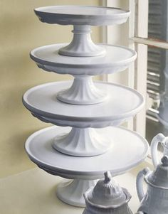 Tower of late Century Ironstone Cake Plates White Dishes, White Pitchers, White Plates, Cake Platter, Pedestal Cake Stand, Plate Stands, Vintage Design, White China, White Dinnerware