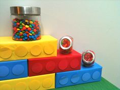 Lego Party...create easy Lego blocks for decoration by wrapping tissue boxes in bright colors and then cut out and glue on circles made from construction paper!