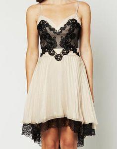Lace Pleated Babydoll Dress - Keep.com