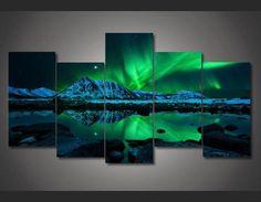 5 Pieces Multi Panel Modern Home Decor Framed Northern Light Aurora Wall Canvas Art