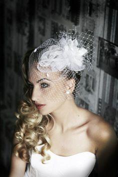 Flower with veil | Wedding Hats by Anna Mikhaylova, via Behance