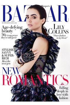 Lily Collins by David Roemer for Harper's BAZAAR Australia March 2016 cover - Chanel Spring 2016