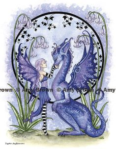 Dragon and fairy 8.5x11 PRINT by Amy Brown Together