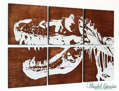 This TRex Dinosaur print on Dark Stained Panels - makes a bold statement piece for the savvy decorator. As always our work is 100% handmade in our