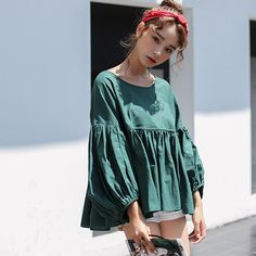 Loose Puff Sleeve Blouses For Women Solid O Neck Casual Shirts Ladies Tops Casual Women Loose Tops Cotton Blouse Linen Clothes