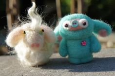 Felted Angora Goat, Elvira, with her friend Pearl