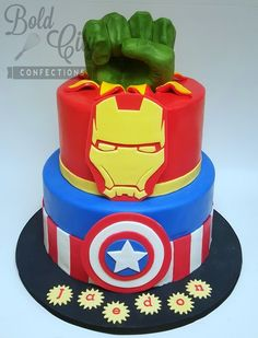 Avengers themed birthday cake with hand modeled chocolate Hulk Fist. Hulk smash!!