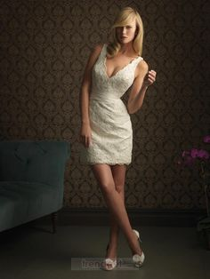 Ideas Wedding Dresses Satin Ivory Allure Bridal For 2019 Short Ivory Wedding Dress, Mini Wedding Dresses, V Neck Wedding Dress, Cheap Wedding Dress, Wedding Dress Styles, Bridesmaid Dresses, Lace Wedding, Wedding Reception, Wedding Gowns
