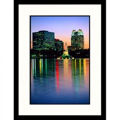 Great American Picture Skyline of Lake Eola in Orlando, Florida Framed Photograph - Wendell Metzen -